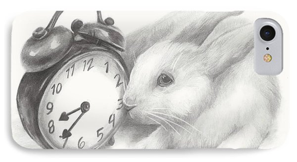 IPhone Case featuring the drawing White Rabbit Still Life by Meagan  Visser