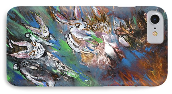 White Rabbits On The Run IPhone Case by Miki De Goodaboom