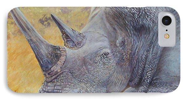 White Rhino IPhone Case by Caroline Street