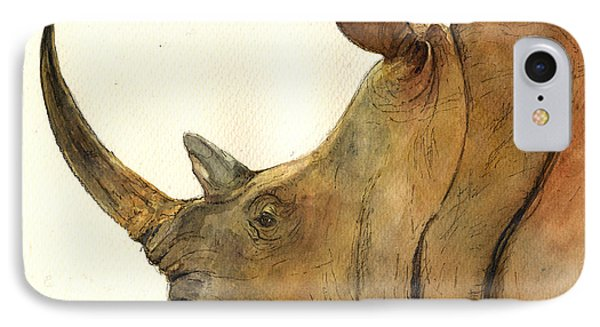 White Rhino Head Study Phone Case by Juan  Bosco