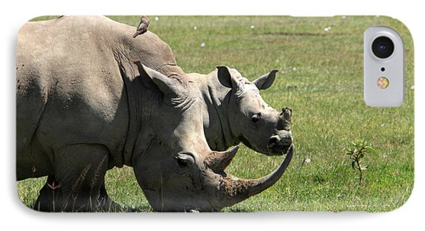 White Rhino Mother And Calf Phone Case by Aidan Moran