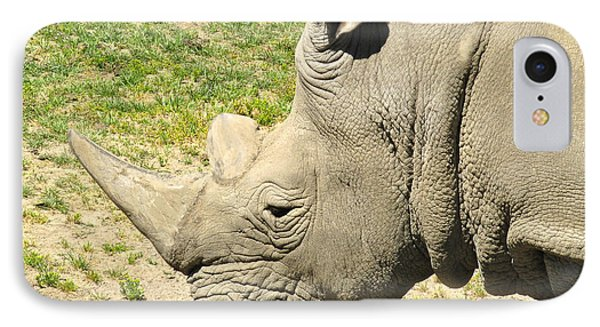 White Rhinoceros Portrait IPhone Case by CML Brown