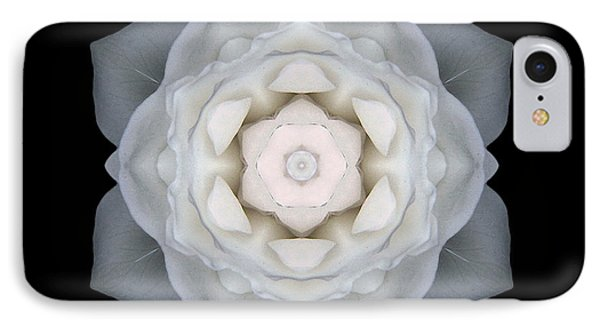 White Rose I Flower Mandala Phone Case by David J Bookbinder