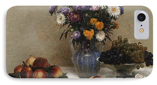 White Roses And Chrysanthemums IPhone Case by Ignace Henri Jean Fantin-Latour