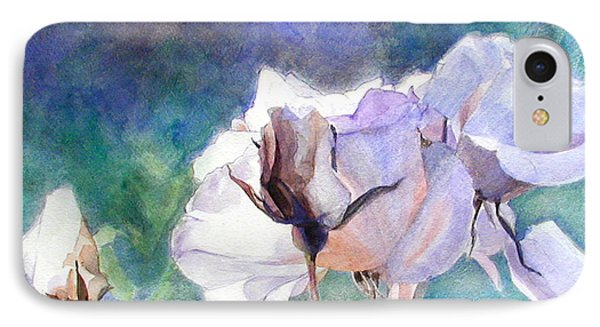 IPhone Case featuring the painting White Roses In The Shade by Greta Corens