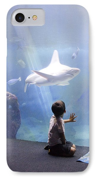 White Shark And Young Boy IPhone Case