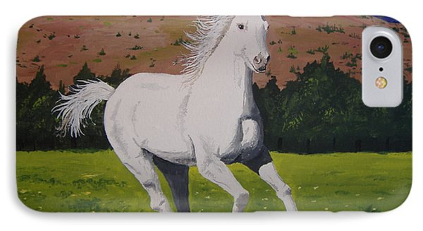 IPhone Case featuring the painting White Stallion by Norm Starks