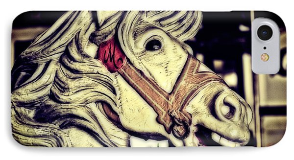 White Steed - Antique Carousel IPhone Case by Colleen Kammerer