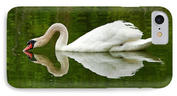 IPhone Case featuring the photograph Graceful White Swan Heart  by Jerry Cowart