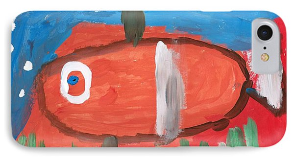 IPhone Case featuring the painting White-tail Fish by Artists With Autism Inc