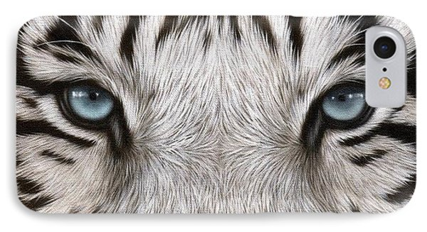 White Tiger Eyes Painting IPhone Case by Rachel Stribbling