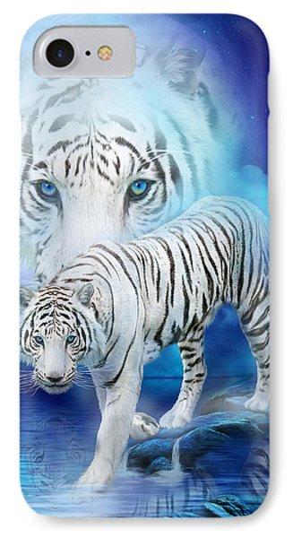 White Tiger Moon IPhone Case by Carol Cavalaris