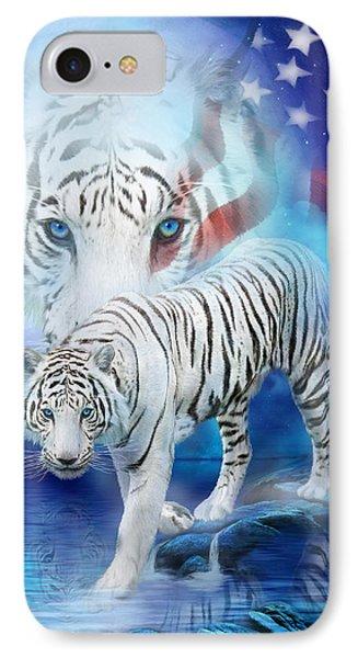 White Tiger Moon - Patriotic Phone Case by Carol Cavalaris