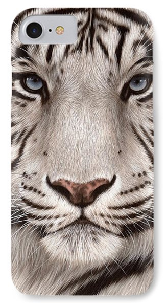 White Tiger Painting IPhone Case by Rachel Stribbling