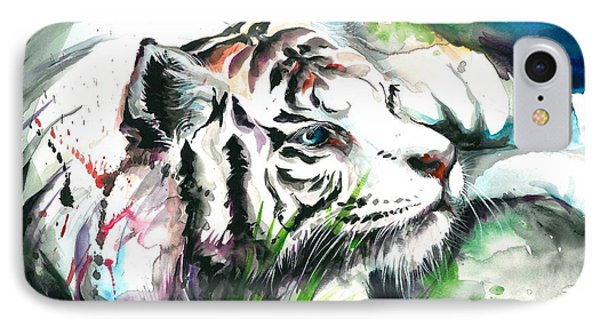 White Tiger Resting IPhone Case by Tiberiu Soos