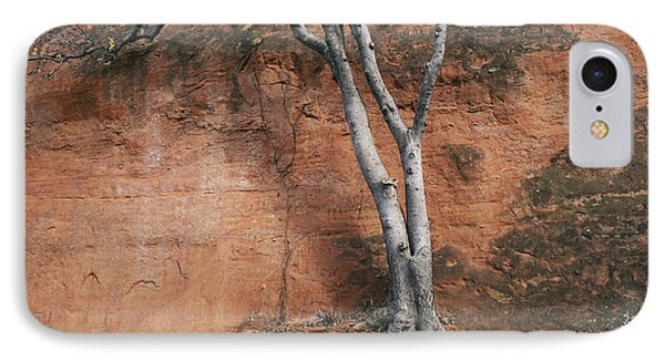 White Tree And Red Rock Face IPhone Case