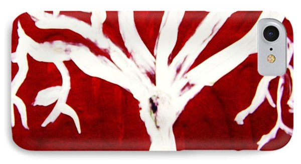 IPhone Case featuring the painting White Tree On Red by Mary Carol Williams