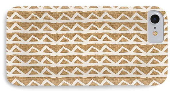 White Triangles On Burlap IPhone Case