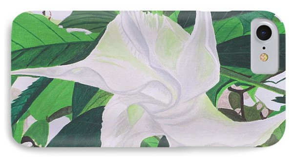 IPhone Case featuring the painting White Trumpet Opening by Hilda and Jose Garrancho
