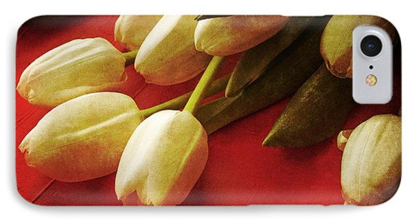 White Tulips Over Red IPhone Case