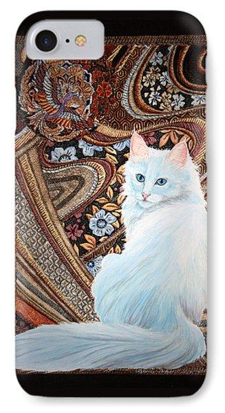 IPhone Case featuring the painting White Turkish Angora by Leena Pekkalainen