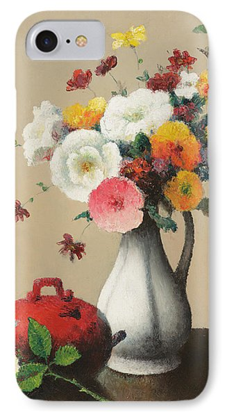 White Vase And Red Box Phone Case by Felix Elie Tobeen