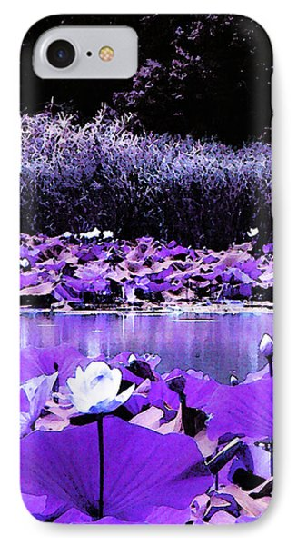IPhone Case featuring the photograph White Water Lotus In Violet by Shawna Rowe