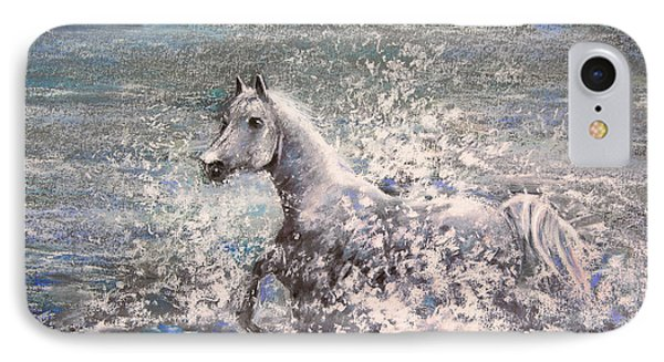 White Wild Horse Phone Case by Miki De Goodaboom