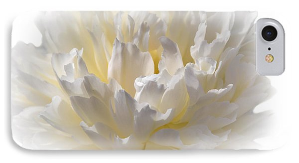 White Peony With A Dash Of Yellow IPhone Case by Sherman Perry