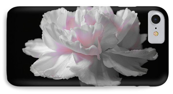 IPhone Case featuring the digital art White With Pink Carnation by Jeannie Rhode