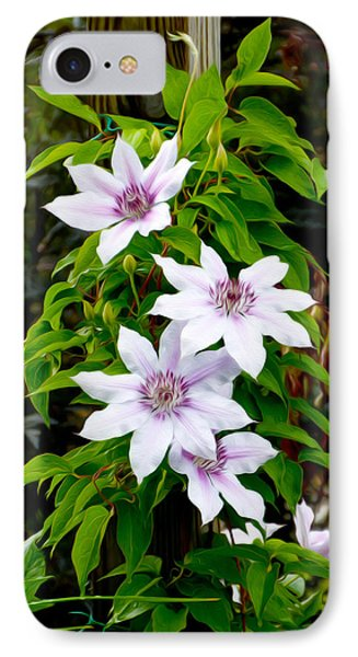 White With Purple Flowers 2 IPhone Case
