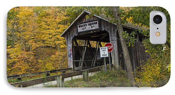 Whites Covered Bridge On The Flat River No.0333 IPhone Case by Randall Nyhof
