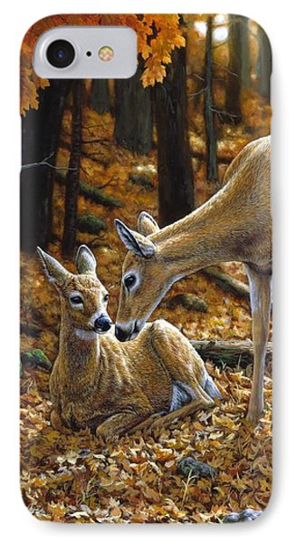 Whitetail Deer - Autumn Innocence 2 IPhone Case by Crista Forest