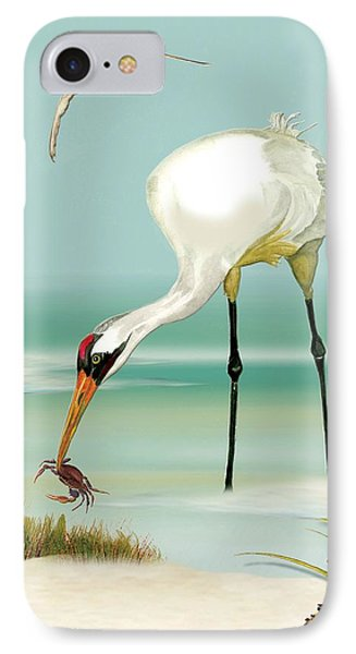IPhone Case featuring the painting Whooping Crane In Color by Anne Beverley-Stamps