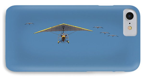 IPhone Case featuring the photograph Whooping Cranes And Operation Migration Ultralight by Paul Rebmann