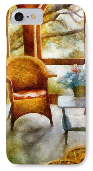 Wicker Chair And Cyclamen IPhone Case by Michelle Calkins