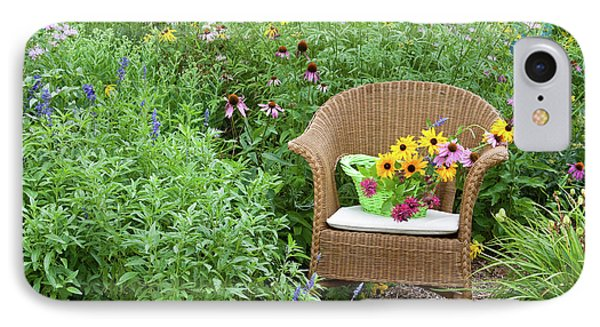 Wicker Chair With Basket And Birdhouse IPhone Case by Panoramic Images
