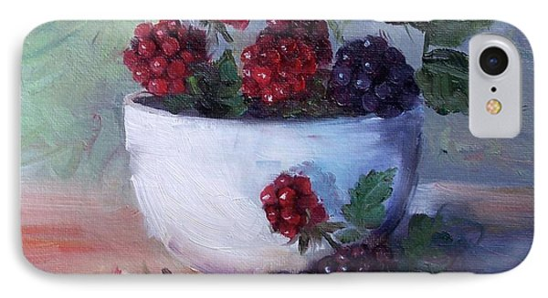 IPhone Case featuring the painting Wild Blackberries by Cheri Wollenberg