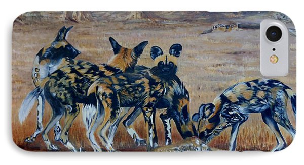 Wild Dogs After The Chase Phone Case by Caroline Street