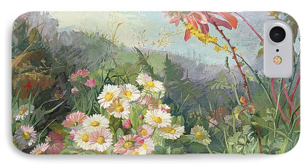 Wild Flowers And Butterfly Phone Case by Jean Marie Reignier