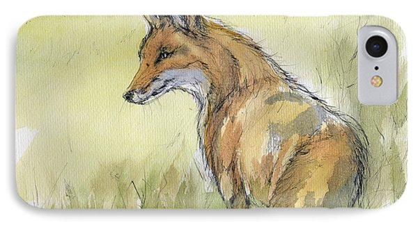 Wild Fox Watercolor Painting Phone Case by Angel  Tarantella