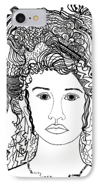 IPhone Case featuring the drawing Wild Hair Portrait In Shapes And Lines by Lenora  De Lude