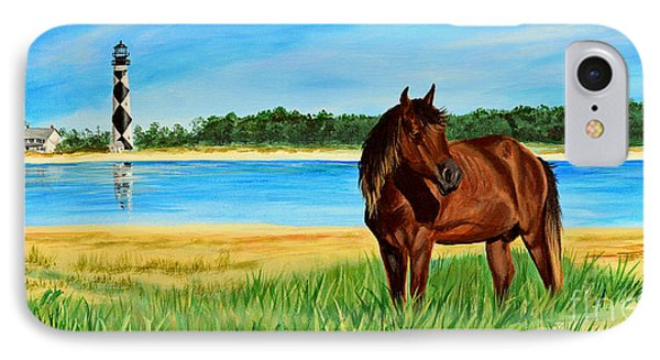 Wild Horse Near Cape Lookout Lighthouse IPhone Case by Patricia L Davidson