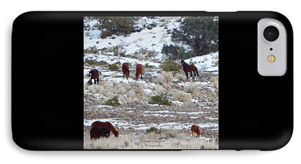 Wild Mustangs In A Nevada Winter Phone Case by Bobbee Rickard