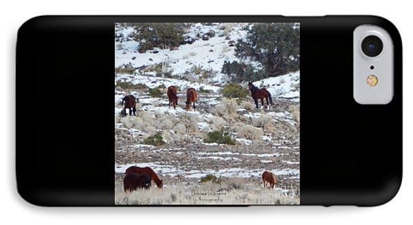 Wild Mustangs In A Nevada Winter IPhone Case by Bobbee Rickard