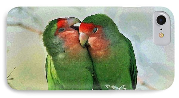 Wild Peach Face Love Bird Whispers IPhone Case by Tom Janca