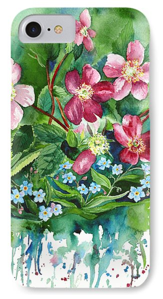 Wild Roses And Forget Me Nots IPhone Case by Karen Mattson