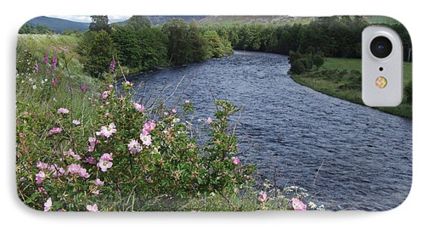 Wild Roses By The River Dee IPhone Case by Phil Banks