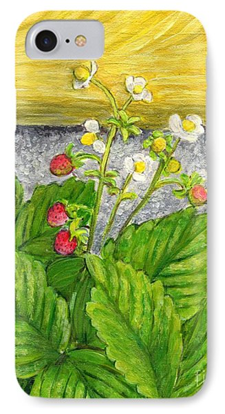 IPhone Case featuring the painting Wild Strawberries In Summer by Jingfen Hwu
