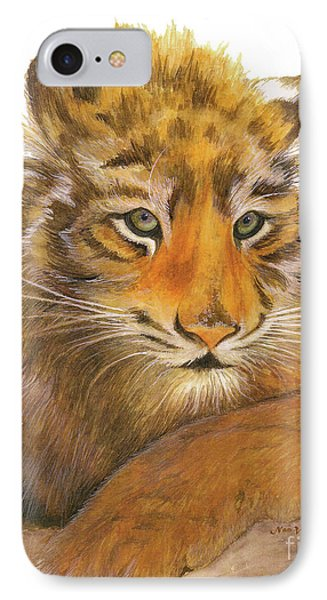 IPhone Case featuring the painting Wild Tiger Cub by Nan Wright